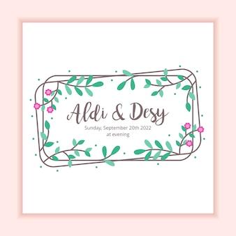 Modello di carta di invito matrimonio cornice floreale
