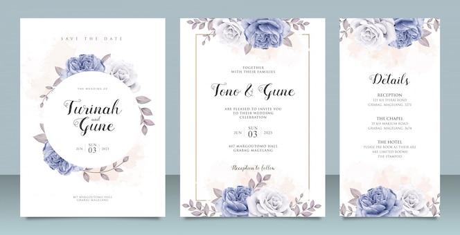 Modello di carta di invito matrimonio elegante con acquerello peonie blu