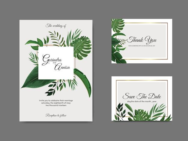 Modello di carta di invito matrimonio elegante con foglie tropicali