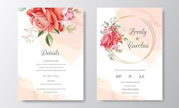 Modello di carta di invito matrimonio elegante impostato con decorazioni floreali e glitter oro