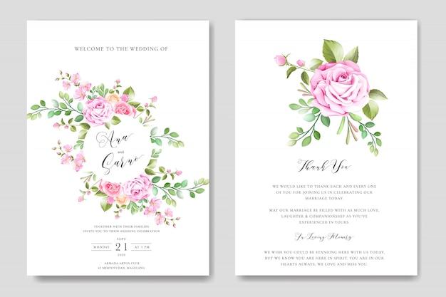 Modello di carta di invito matrimonio floreale con ghirlanda floreale