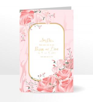Modello di carta di invito matrimonio floreale con stile di bellissimi fiori.