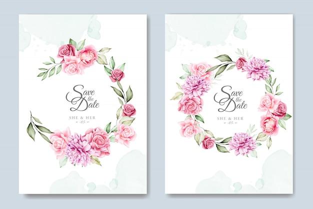 Modello di carta di invito matrimonio floreale dell'acquerello
