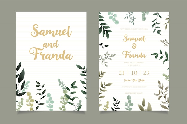 Modello di carta di invito matrimonio floreale semplice