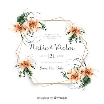 Modello di carta di invito matrimonio floreale