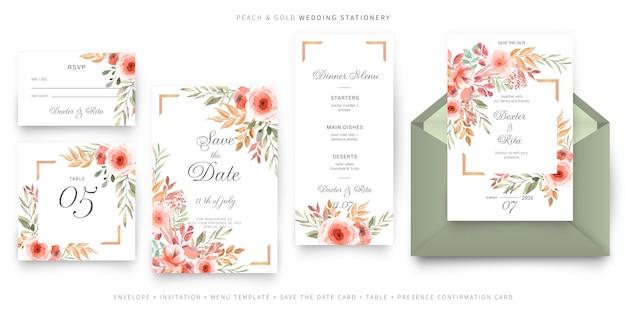 Modello di carta di invito matrimonio verde e rosa, set di cancelleria