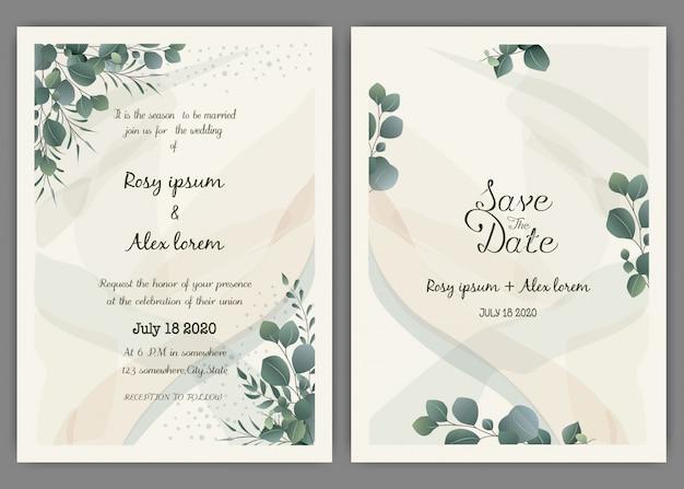 Modello di carta di invito matrimonio verde, eucalipto