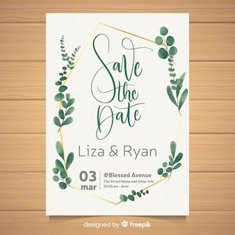 Modello di carta di matrimonio ad acquerello