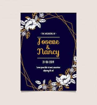 Modello di carta di matrimonio floreale blu navy e oro