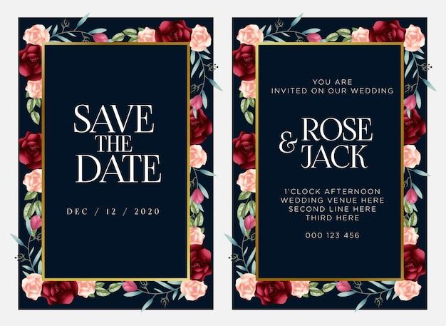 Modello di carta di matrimonio floreale bordeaux blush