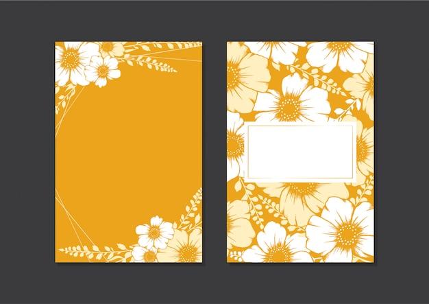 Modello di carta di matrimonio floreale disegnato a mano, gold card di cornici vuote per carta di invito