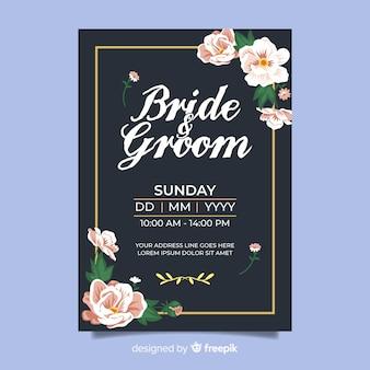 Modello di carta di matrimonio floreale vintage
