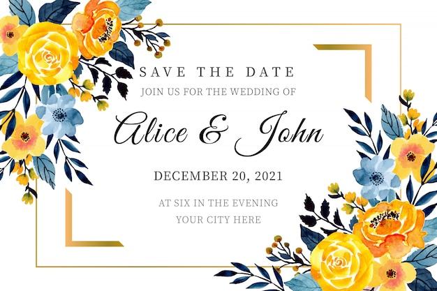Modello di carta di matrimonio giallo e blu con acquerello floreale