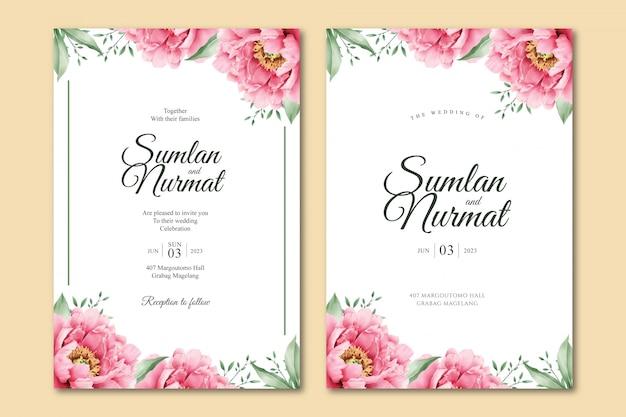 Modello di carta di matrimonio romantico peonia