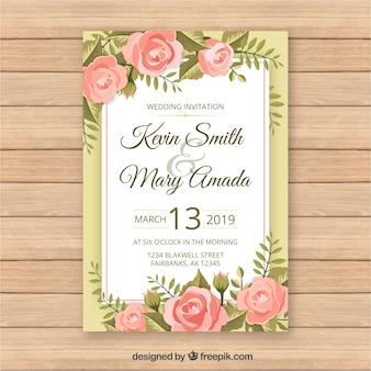 Modello di carta di matrimonio vintage con stile floreale