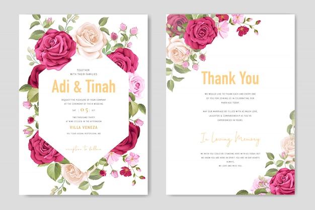 Modello di carta di nozze con bel fiore e foglie cornice