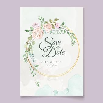 Modello di carta di nozze con bella corona floreale