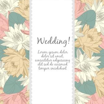 Modello di carta di nozze con elementi floreali