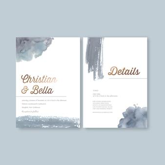 Modello di carta di nozze dell'acquerello con pennellate
