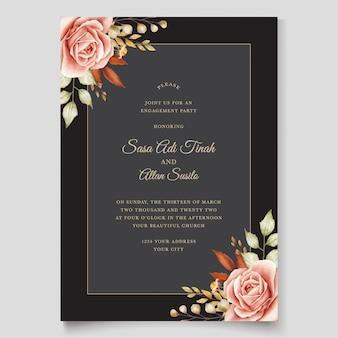 Modello di carta di nozze disegnati a mano