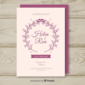 Modello di carta di nozze disegnato a mano