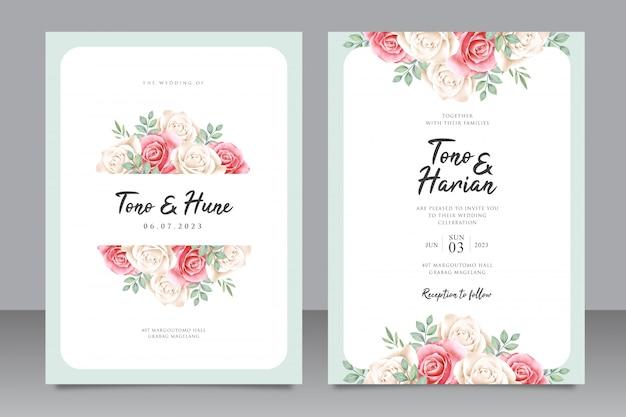 Modello di carta di nozze elegante con bella cornice floreale
