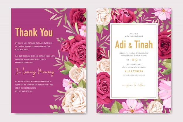 Modello di carta di nozze elegante con bella corona di rose