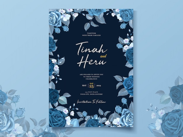 Modello di carta di nozze elegante con classico blu floreale e foglie