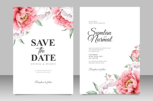 Modello di carta di nozze elegante con peonia