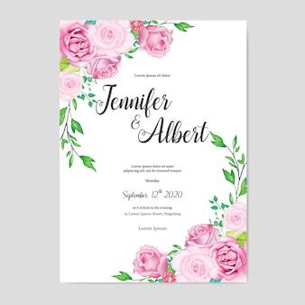 Modello di carta di nozze floreale bella acquerello