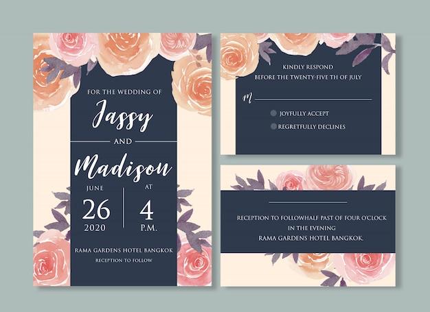 Modello di carta di nozze floreale dell'acquerello