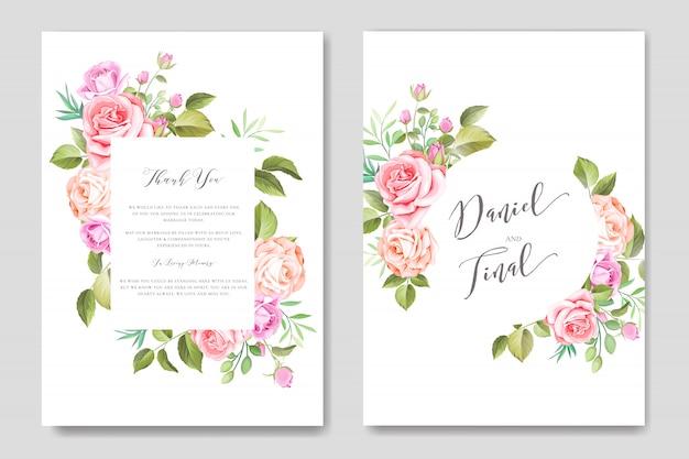 Modello di carta di nozze floreale e foglie acquerello elegante