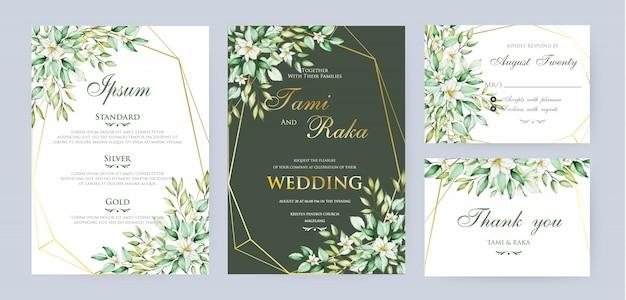 Modello di carta di nozze floreale e foglie acquerello
