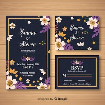 Modello di carta di nozze floreale piatta