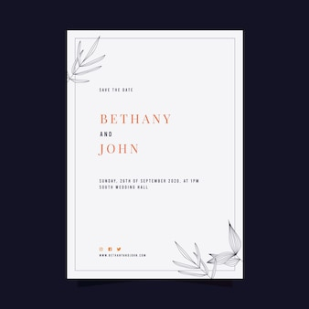 Modello di carta di nozze minimo