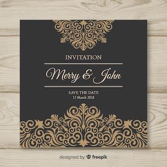 Modello di carta di nozze ornamentale