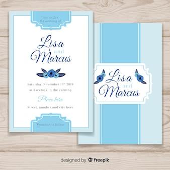 Modello di carta di nozze piatte