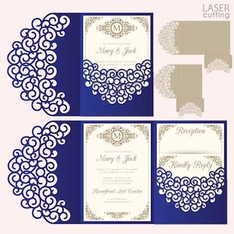 Modello di carta di nozze taglio laser. busta di invito.