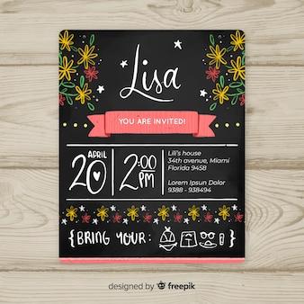 Modello di carta di primo compleanno fiori lavagna