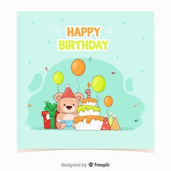 Modello di carta di primo compleanno orso disegnato a mano
