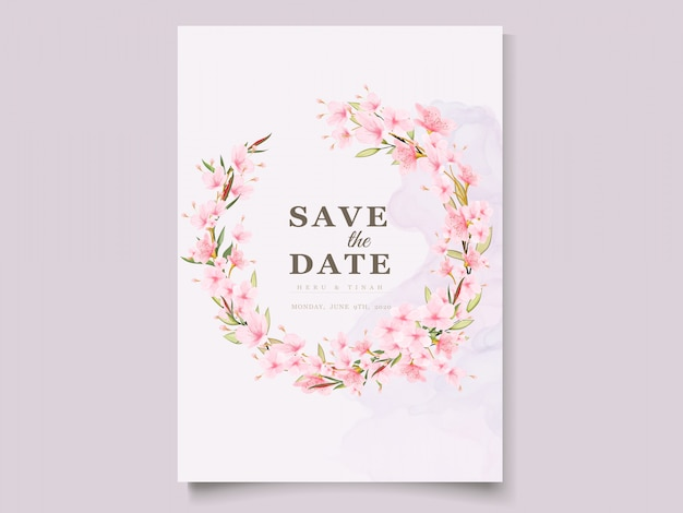 Modello di carta elegante fiore di ciliegio dell'acquerello