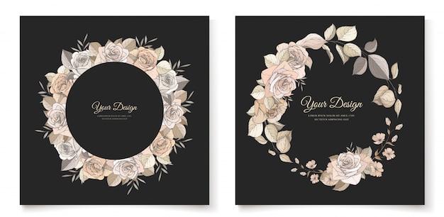 Modello di carta elegante invito floreale marrone