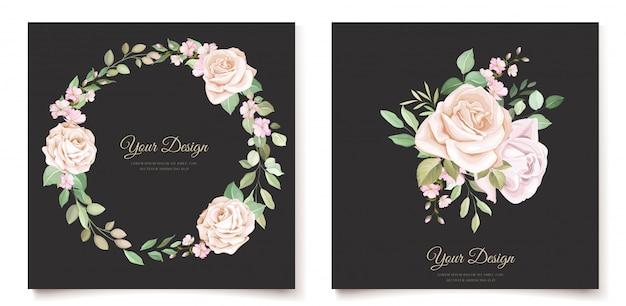 Modello di carta elegante invito floreale