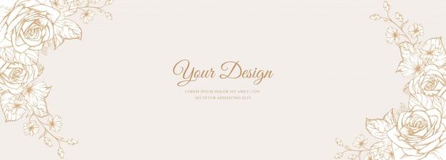 Modello di carta elegante linea arte banner matrimonio invito
