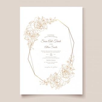 Modello di carta elegante linea arte invito a nozze