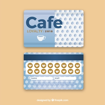 Modello di carta fedeltà cafe con stile elegante
