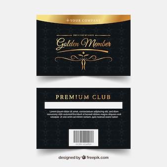 Modello di carta fedeltà con stile dorato