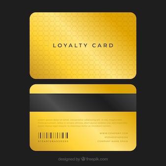 Modello di carta fedeltà elegante con stile dorato