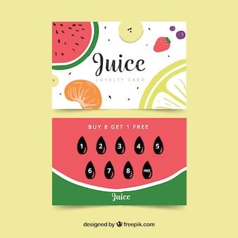 Modello di carta fedeltà incantevole con frutta fresca
