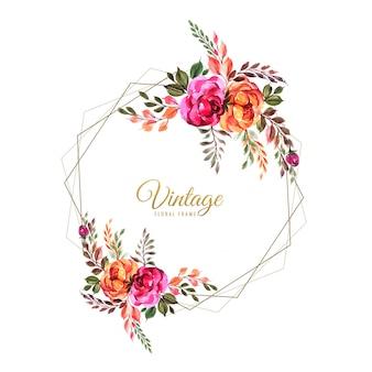 Modello di carta fiori colorati matrimonio ornamentale disegnare a mano